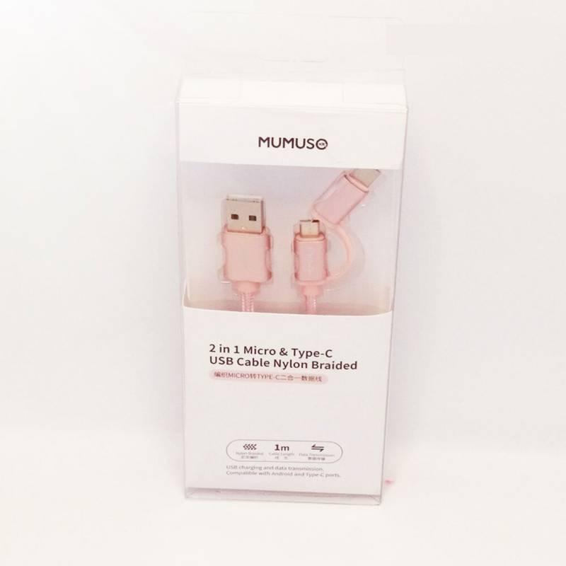 MUMUSO - Cable USB Micro & Tipo C 2 en 1 (2.1A / Nailon)
