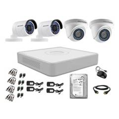 HIKVISION - Cámaras Seguridad Kit 4 Full Hd Disco 500Gb P2P