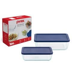 PYREX - Set de Tapers Refractarios Rectos con Tapa Plástica de 6 - 11 Tazas