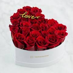 DETAMOUR - Heart Box Blanco Rosas Rojas