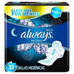 ALWAYS - Toallas Higiénicas Nocturna Seca con Alas 32 unidades