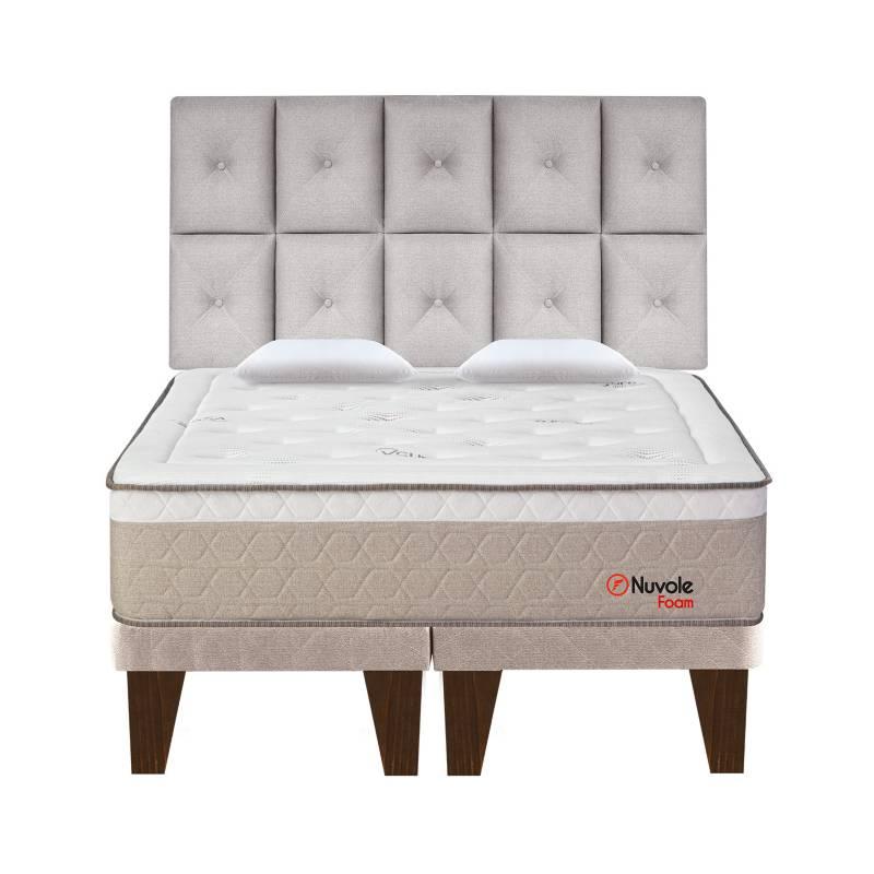 FORLI - Dormitorio Europeo Nuvole Foam Queen + 2 Almohadas Viscoelásticas + Protector