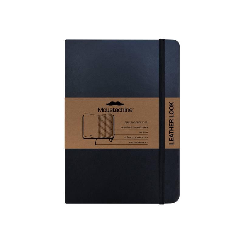 MOUSTACHINE - Libreta Moustachine Classic Leather Look Mediana Cuadriculado - Negro