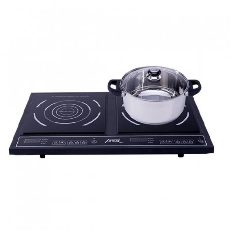AREZI - Cocina De Induccion 2 Hornillas + Olla