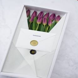 DETAMOUR - Classic Box Blanco 10 Tulipanes Morados