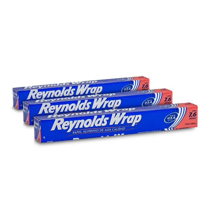 REYNOLDS - Pack papel aluminio 25SF (7.6m x 30.4 cm) x 3unid
