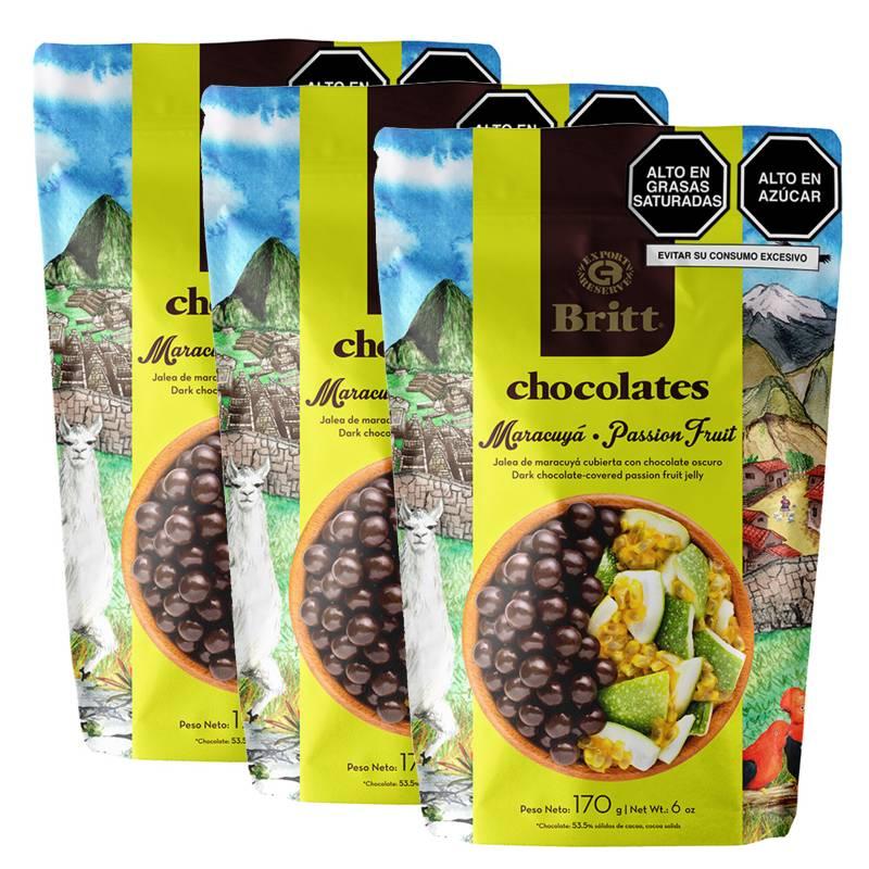 BRITT - Pack x 3 Chocolate Britt Peru Maracuya 170Gr