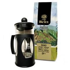 BRITT - Combo Prensa Francesa 350ml + Café Cumbre Sagrada Molido 250gr