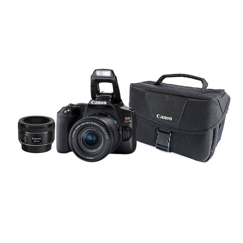CANON - Comobo 53: Incluye (Cámara Canon EOS Réflex SL3 con Lente 18-55mm + Lente EF 50mm 1.8 IS STM + Maletín)