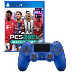 SONY - Mando Playstation 4 Dualshock Azul + PES 2021