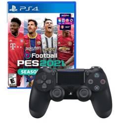 SONY - Mando Playstation 4 Dualshock Negro + PES 2021