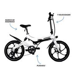 """Monark - Bicicleta Eléctrica E-Lite Aro 20"""" Plateado Negro"""
