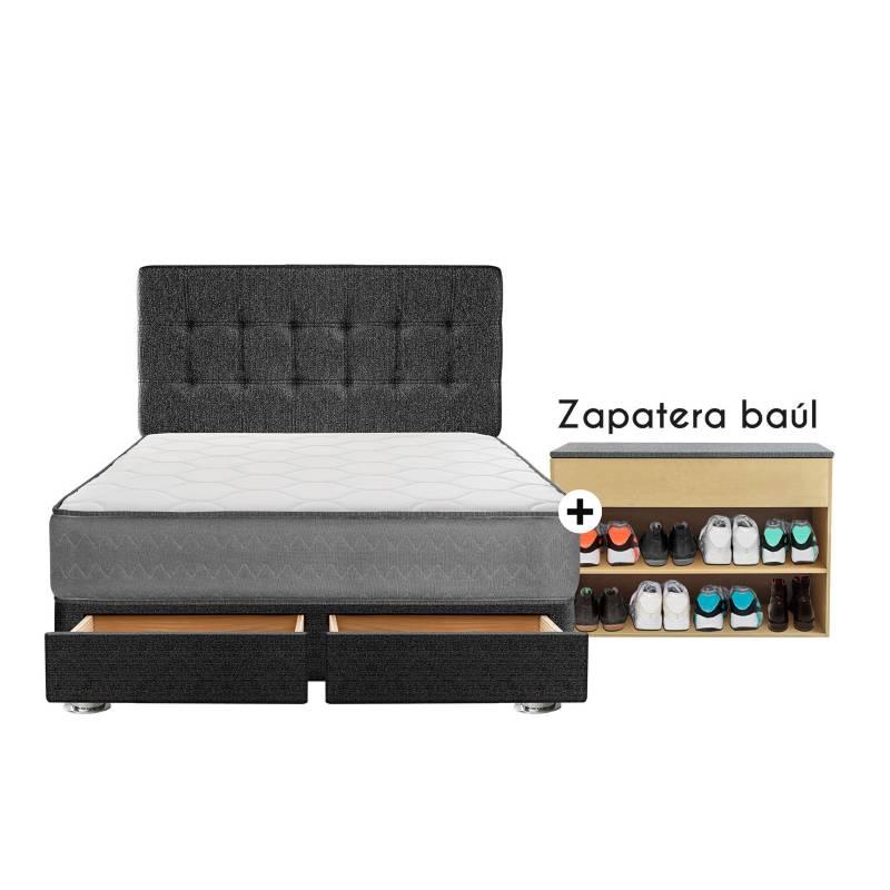 FORLI - Dormitorio con Cajones Polaris 2 Plz + Zapatera + 2 Almohadas