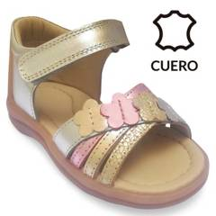 BRUNO KIDS - Sandalia Niña Folia Plata Velcro