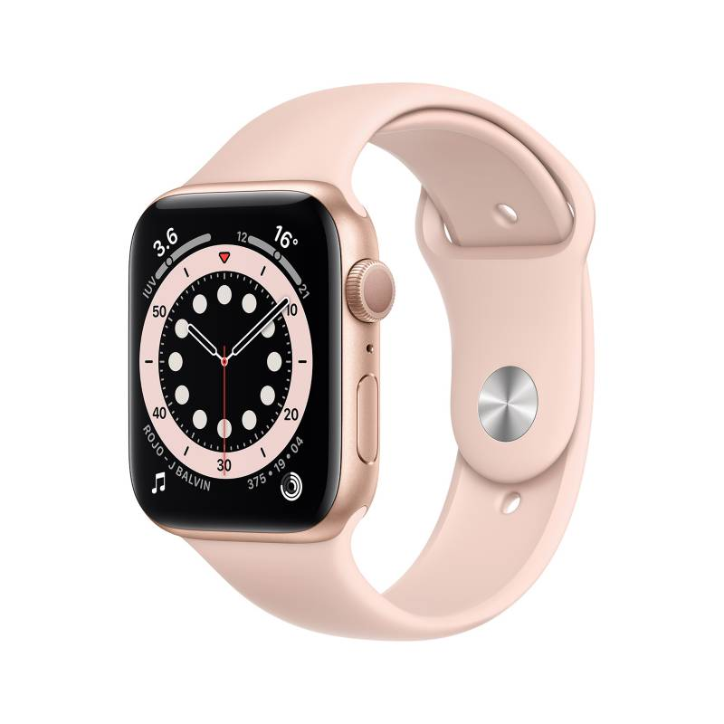 APPLE - Apple Watch Series 6 GPS, 44mm Gold Aluminium Case with Pink Sand Sport Band