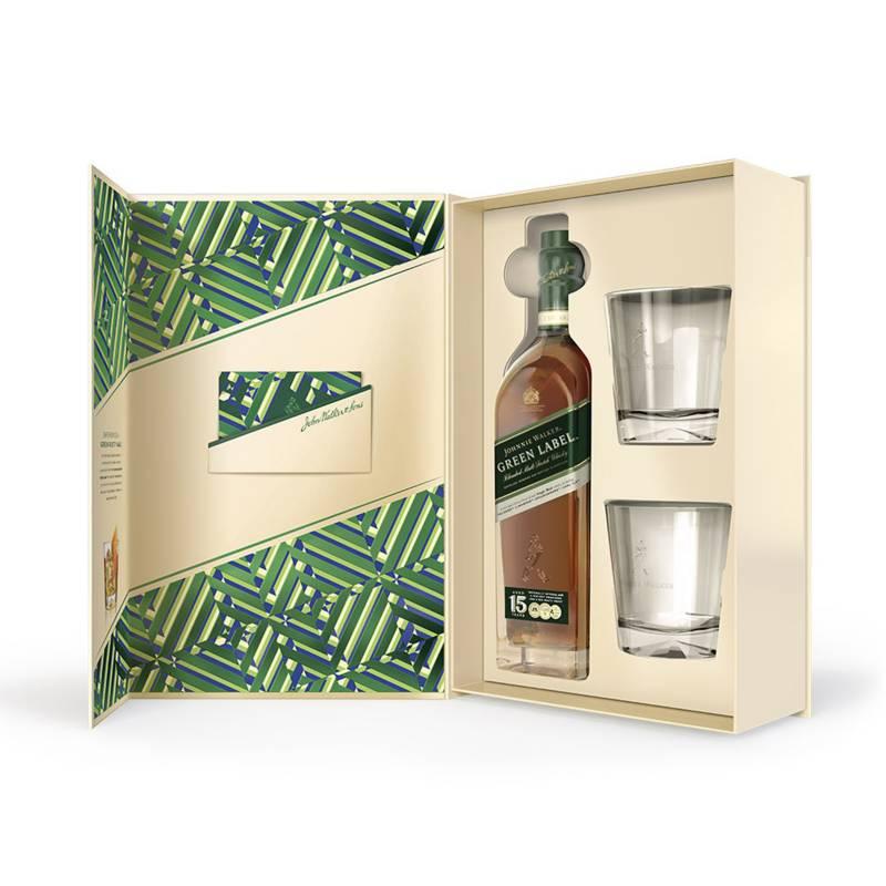 JOHNNIE WALKER - Johnnie Walker Green Label 750ml + 2 Vasos