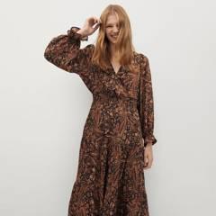 MANGO - Vestido Midi Estampado Mujer Mango