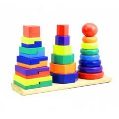 GENERICO - Juego Didáctico Torre Tres Columnas Arcoiris