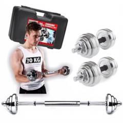 Sport Fitness - Set pesas cromadas 30kg + maletín + mancuernas