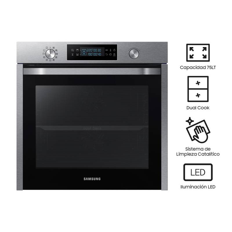 SAMSUNG - Horno Eléctrico Dual Cook, Stainless Steel 60 cm