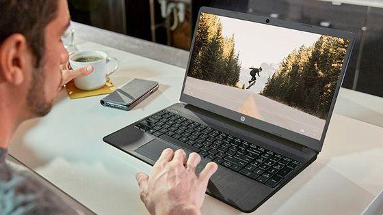 Laptop HP 15-dw1085la portable con marco delgado y diseño moderno