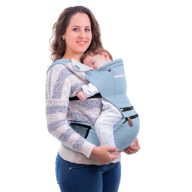 MONCHITOS ACCESORIOS - Baby Hip Carrier Celeste Canguro Con Asiento