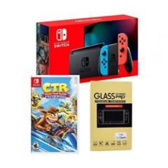 NINTENDO - Nintendo Switch+Crash team racing+Mica d vidrio