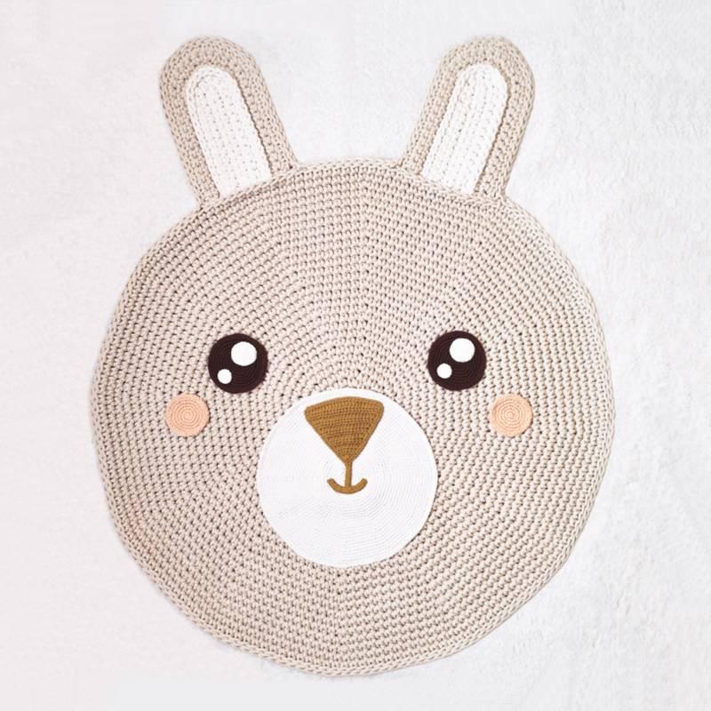 BE CRAFTY - Alfombra de Conejo para Cuarto de Bebés Tejida a Mano 90cm