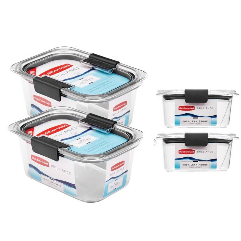 RUBBERMAID - Set x 4 Tapers Herméticos Brilliance Extra