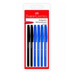 FABER-CASTELL - Bolígrafo Lux 034-M Blíster X 6 (4 Azules, 2 Negros)