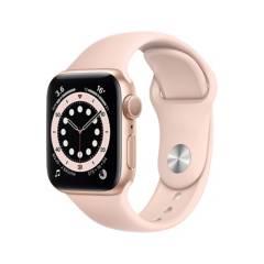 APPLE - Apple Watch Series 6 (GPS) - Caja de aluminio oro 40 mm - Correa deportiva rosa arena