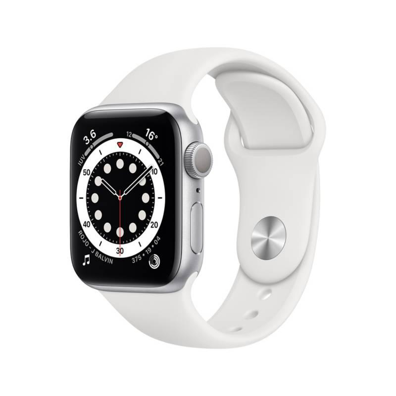APPLE - Apple Watch Series 6 (GPS) - Caja de aluminio Plata 40 mm - Correa blanca