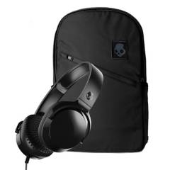 SKULLCANDY - Audífono Skullcandy Riif mic Black + Mochila skullcandy Commuter porta laptop black