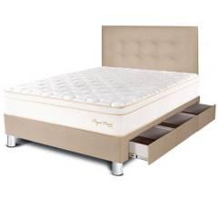 PARAÍSO - Dormitorio con Cajones Royal Prince 1.5 Plz + 1 Almohada Viscoelástica + Protector