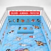 FORLI - Colchón de Cuna Looney Tunes Azul + Almohada + Protector