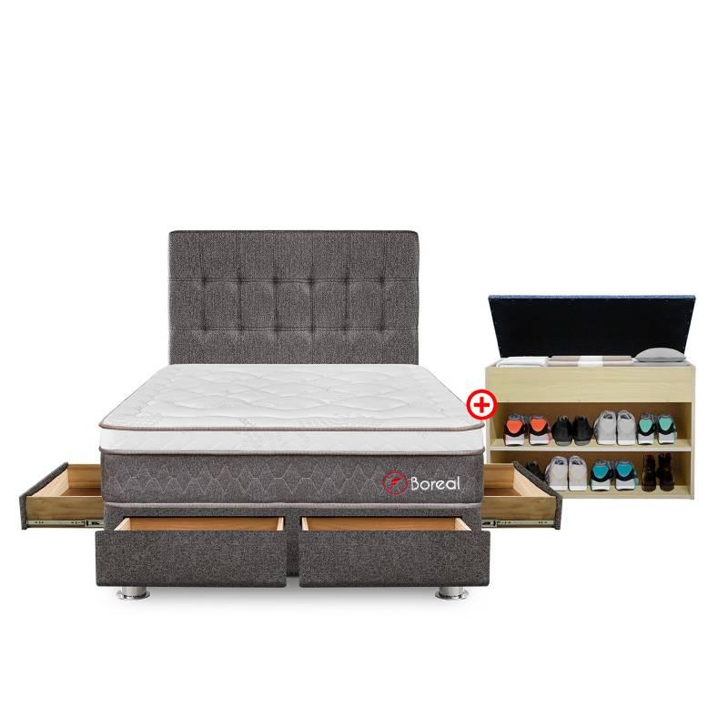 FORLI - Dormitorio con Cajones Boreal Pocket SS 2 Plz + Zapatera