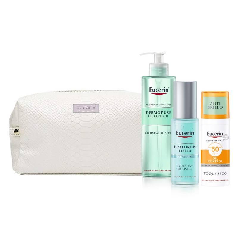 Eucerin - Dermopure Gel Limpiador 200ml + Protector Solar Toque Seco Facial FPS50-50ml + Hyaluron Hydrating Booster 30ml + Neceser