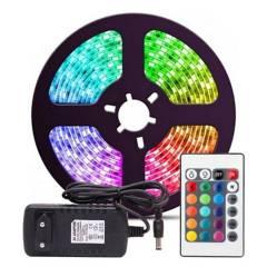GENERICO - Cinta Tira De Luces Led RGB 5050 5M Con Enchufe