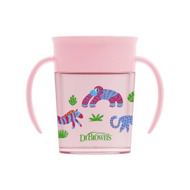 DR BROWN´S - Vaso 360° 7oz/200 ml, ROSA con asa