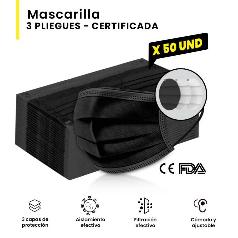 SM - Mascarilla 3 Pliegues Negra Certificada (50 und