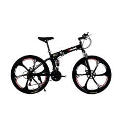 GENERICO - Bicicleta Montañera 21 Cambios Plegable - Negro
