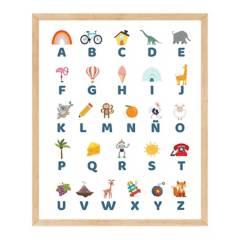 NYLA DECOR - Cuadro Kids Abecedario 40x30 cm Pino