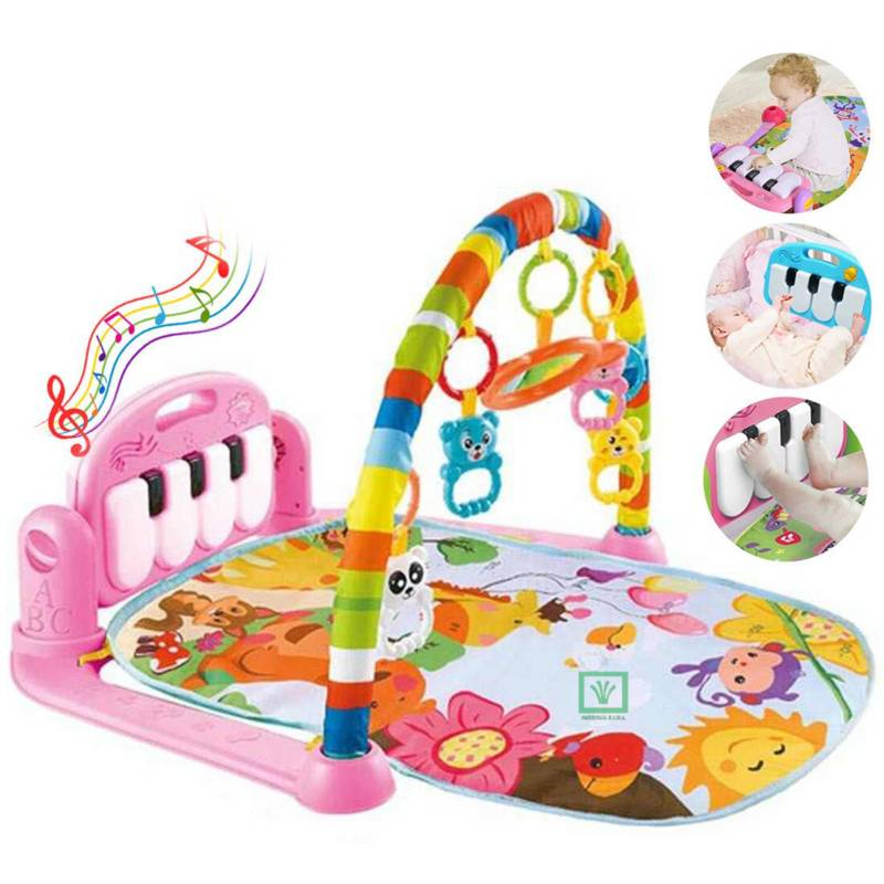 BABY WORLD - Gimnasio de Bebe con Piano Para Patear Rosado