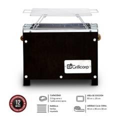 GRILLCORP - Caja China Mini Inoxidable Black + Parrilla de Varillas Niqueladas 40x30x30 cm