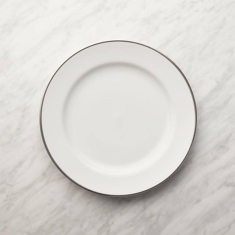 CRATE & BARREL - Plato para Ensalada con Borde Platino Maison