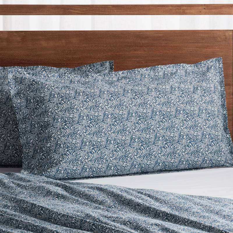 CRATE & BARREL - Funda de Almohada Orgánica Ellio King Azul