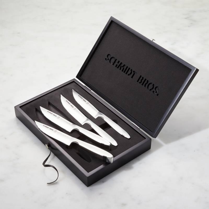 CRATE & BARREL - Juego De 4 Cuchillos Para Carne Jumbo Schmidt Brothers ®
