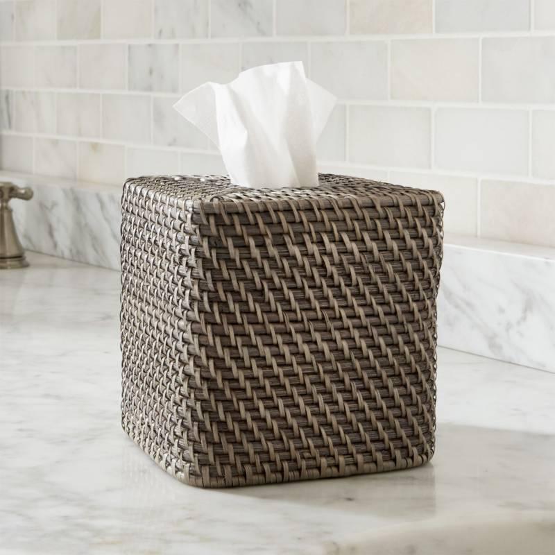 CRATE & BARREL - Caja Cuadrada para Pañuelos de Papel Sedona Gris