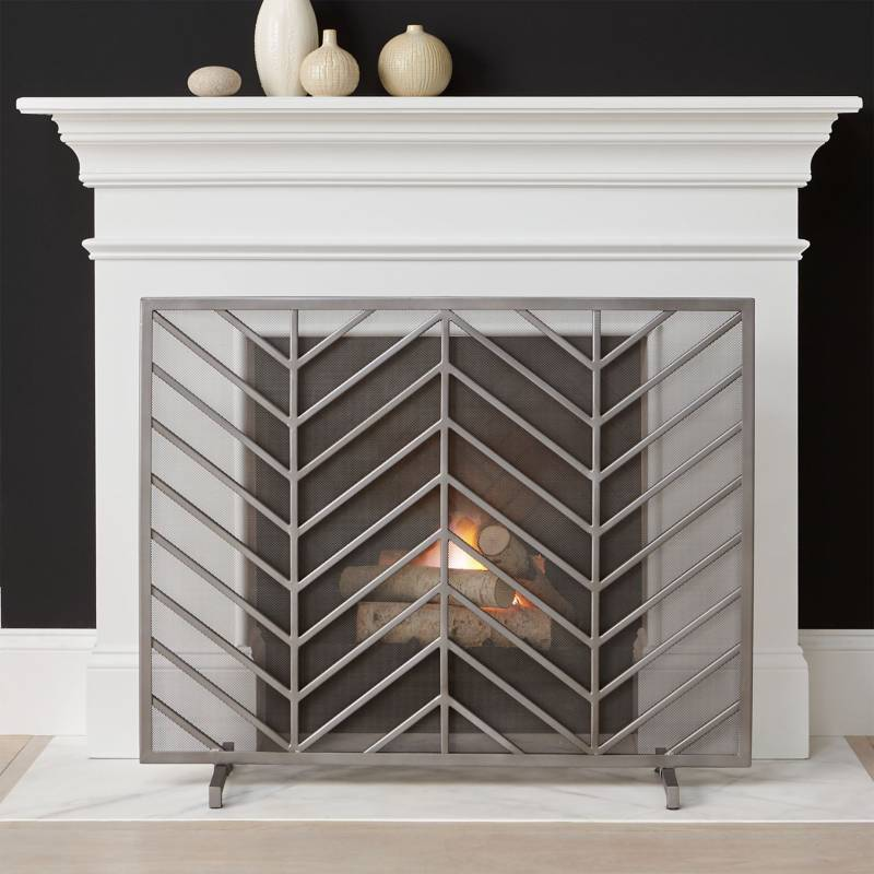 CRATE & BARREL - Pantalla de Chimenea Chevron