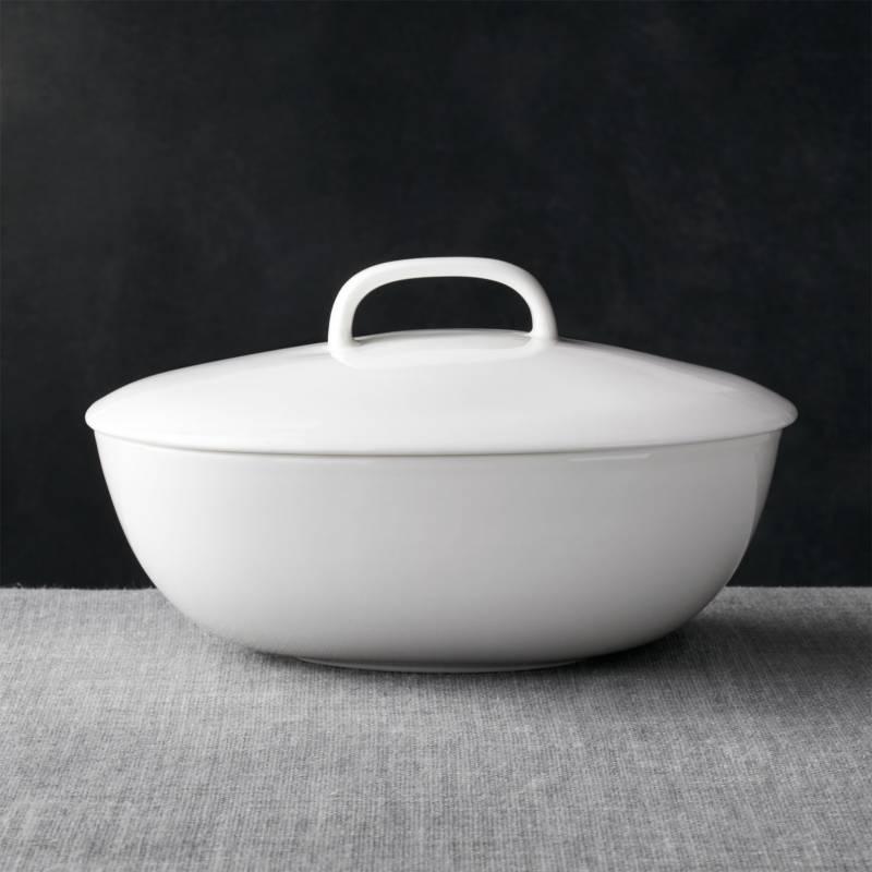 CRATE & BARREL - Bowl Para Servir Con Tapa Bennett Ovalada